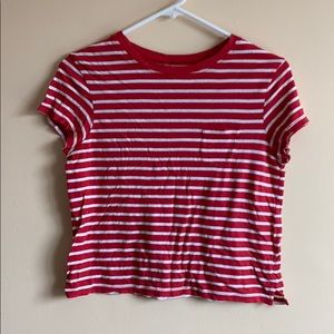 Striped tee, loose fit, cropped to waist S